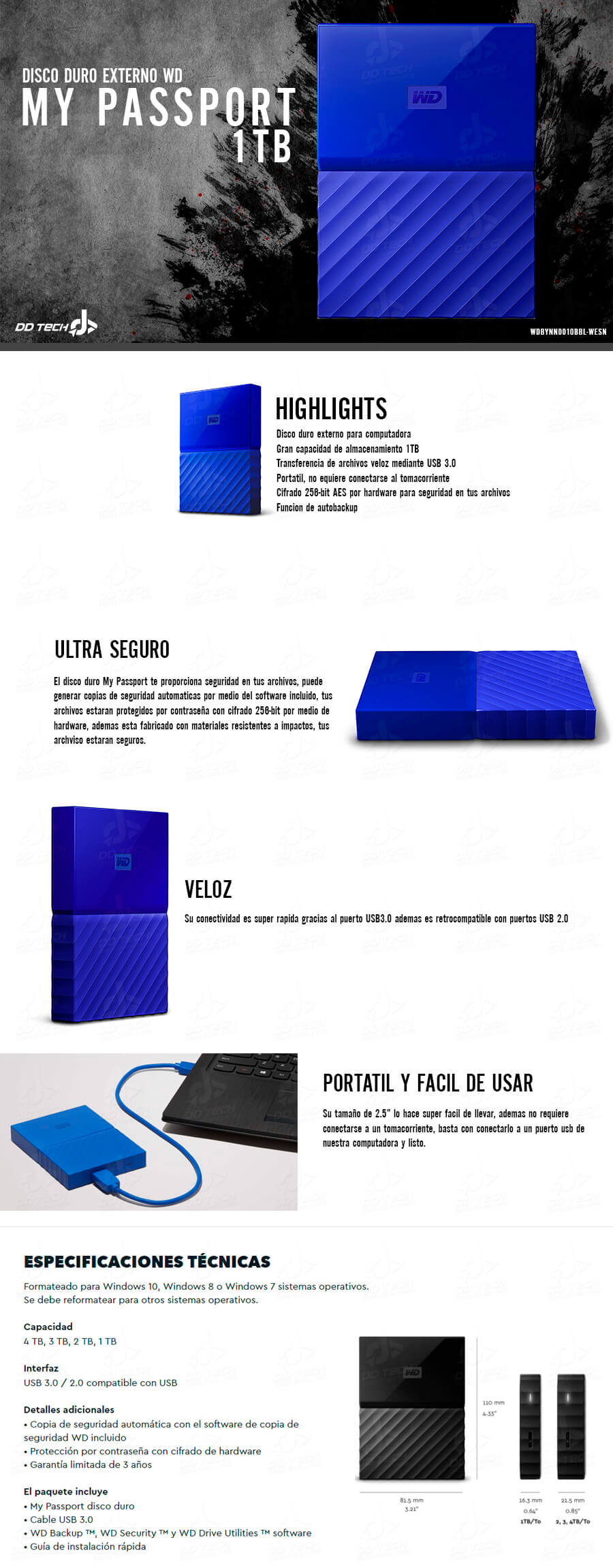 Disco Duro Externo 1tb Wd My Passport Blue Portatil Usb 3