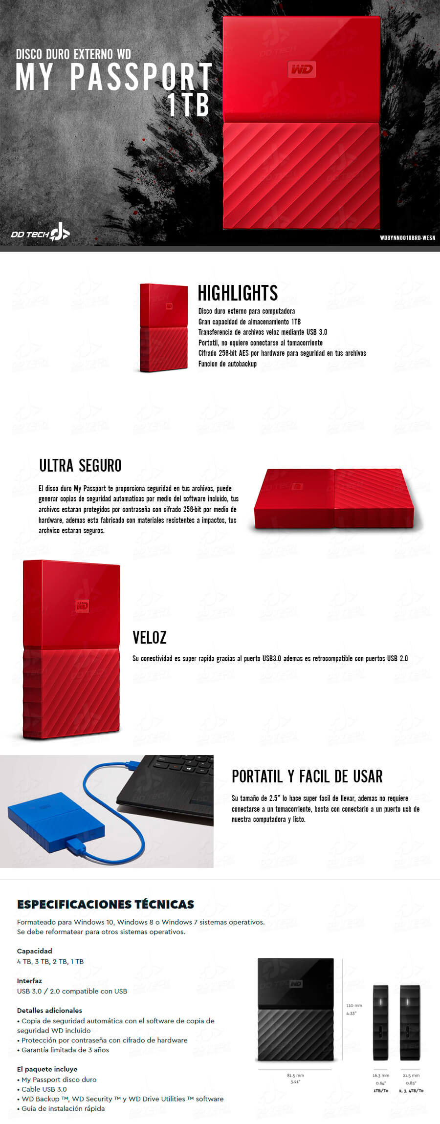 Disco Duro Externo 1tb Wd My Passport Red Portatil Usb 3 0