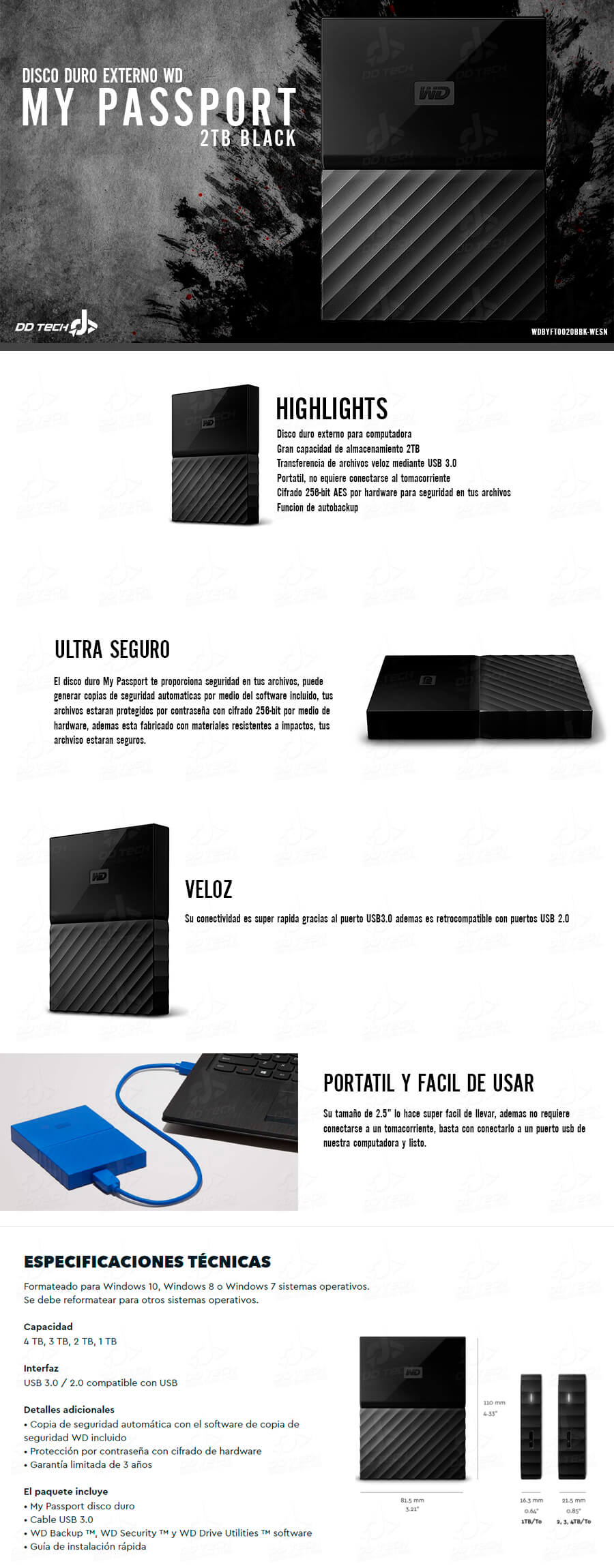 Disco Duro Externo 2tb Wd My Passport Black Portatil Usb 3