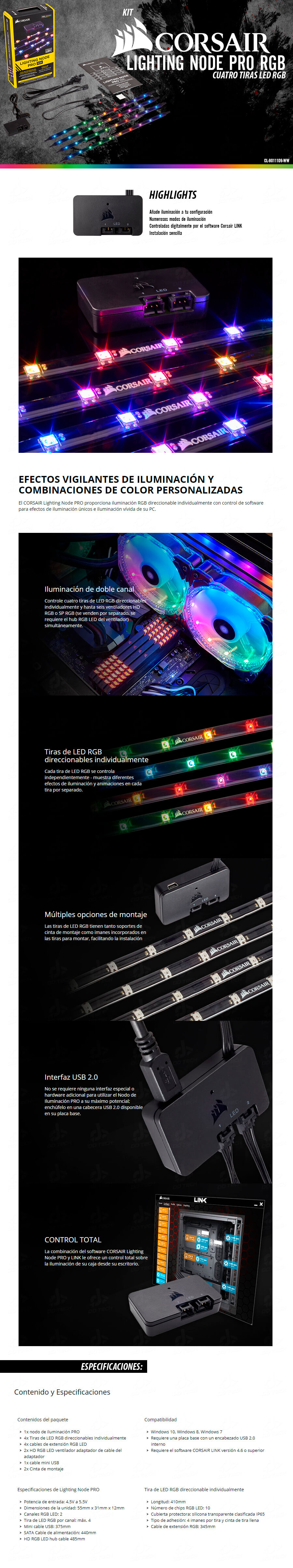 Kit De Iluminaci 243 N Corsair Lighting Node Rgb 4 Tiras Led
