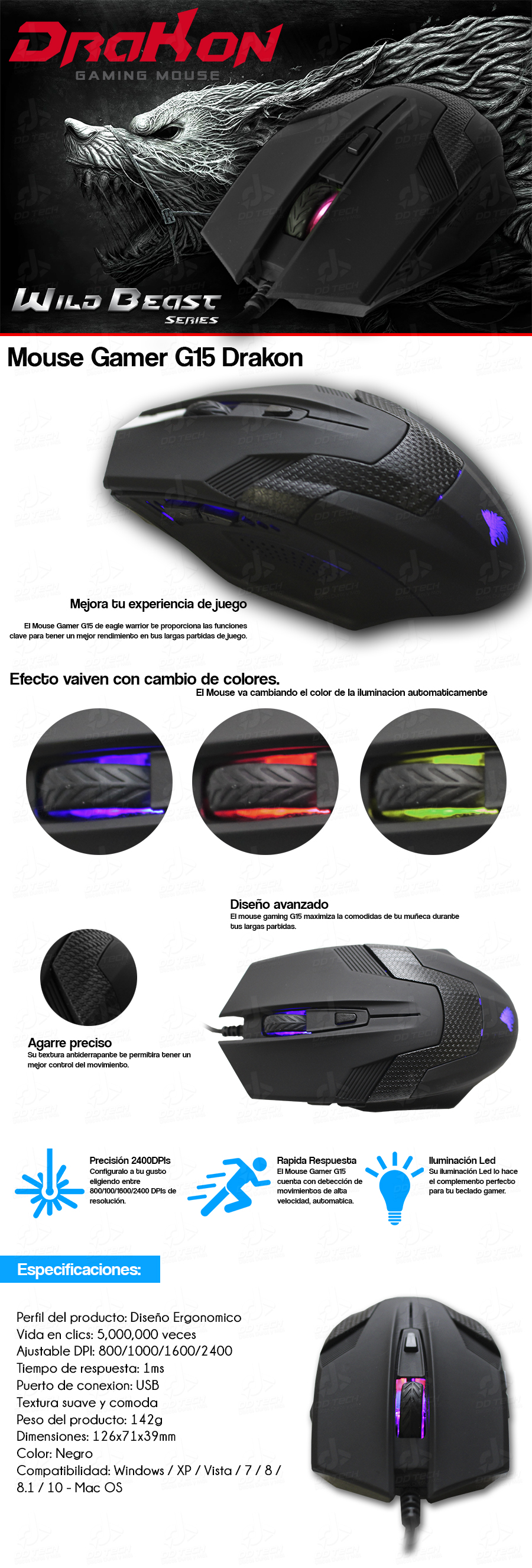 Mouse / Raton Gamer Eagle Warrior Drakon G15 Retroiluminado | DD Tech