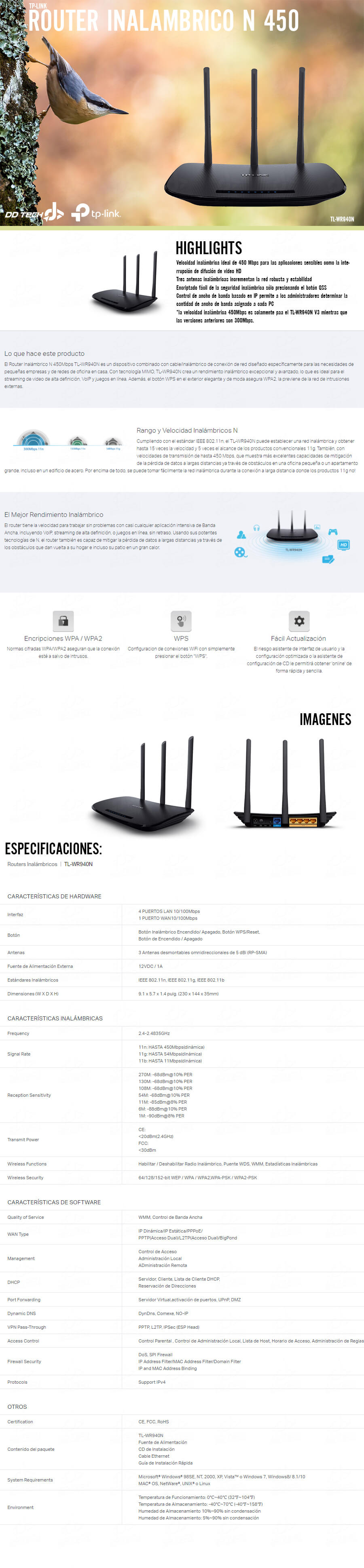 Router Tp Link Inalambrico N 450mb S Triple Antena Tl Wr940n Wireless 450mbps Productos Relacionados
