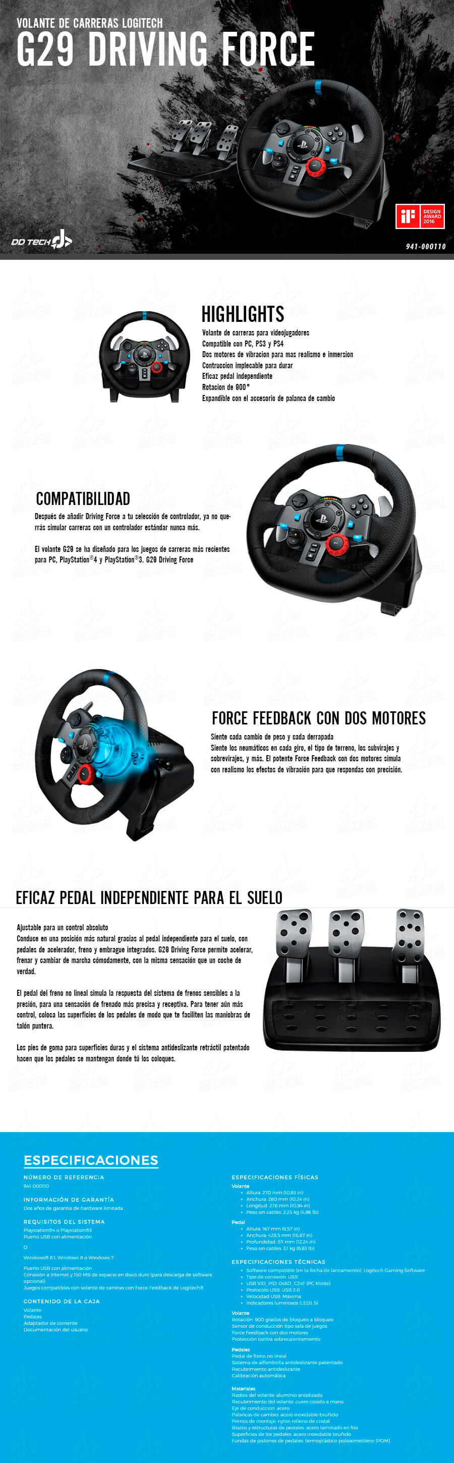 volante de carreras para ps4 logitech g29 driving force volante y pedales 941 000111 dd tech. Black Bedroom Furniture Sets. Home Design Ideas